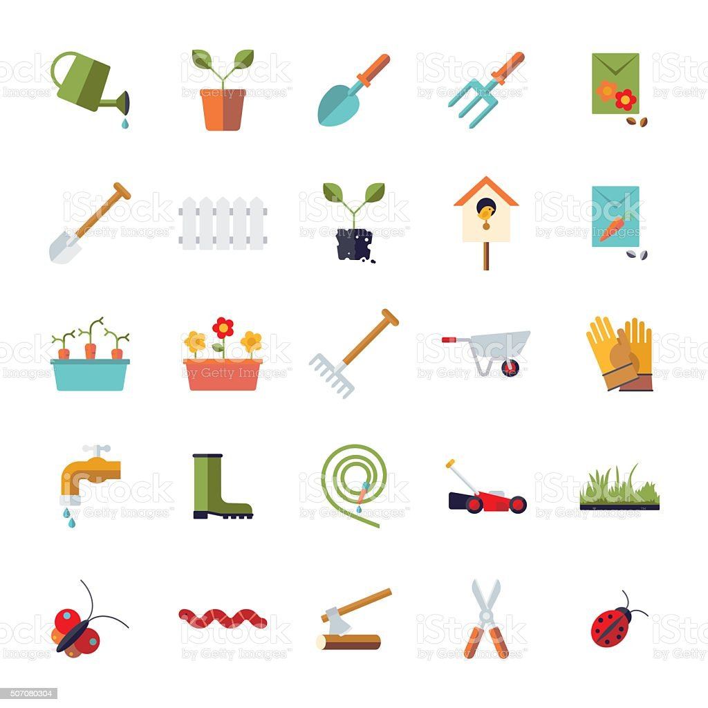 Flat Design Gardening Isolated Icon Set vector art illustration
