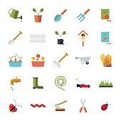 Flat Design Gardening Isolated Icon Set