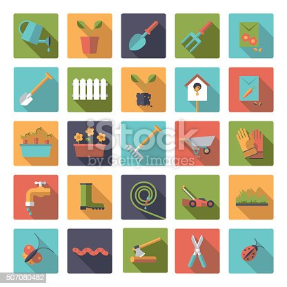 Collection of flat design gardening vector icons in rounded squares