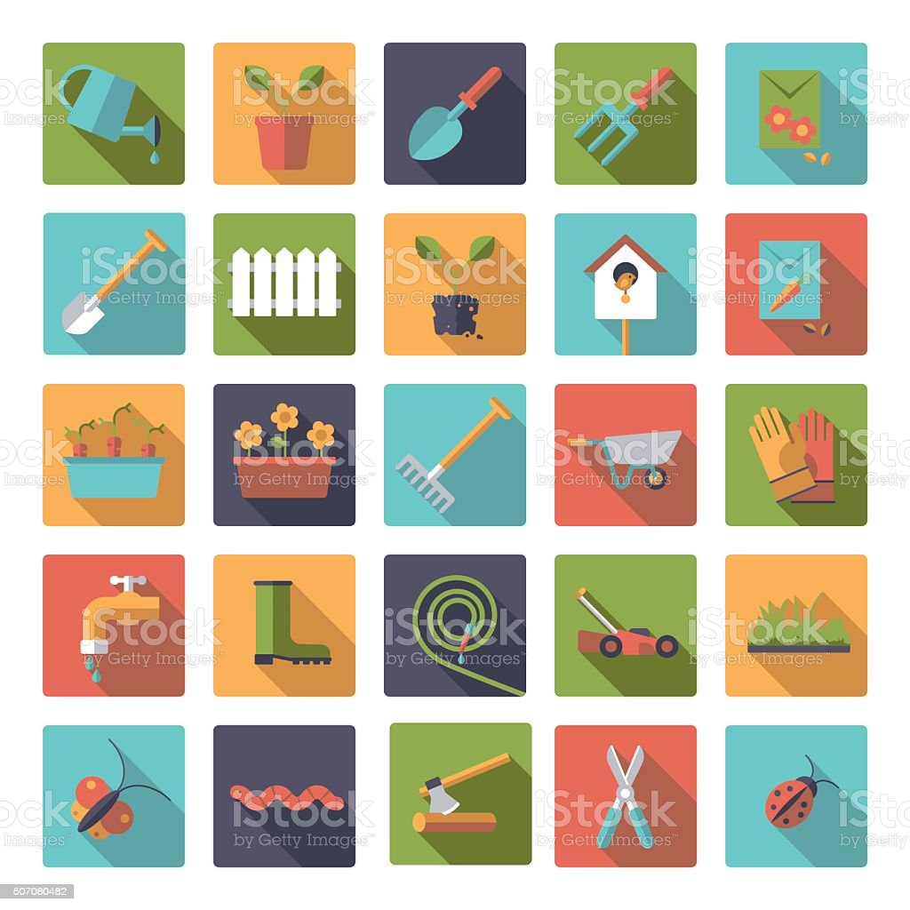 Flat Design Gardening Square Icon Set vector art illustration