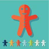 Flat design: gingerbread man
