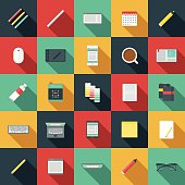 An overhead view of items you might find on the desk of a graphic designer, including: Laptop, tablet, smart phone, computer, sketchbooks, color swatches, paints, pencils, pens, coffee, design books, calendar, drawing tablet, backup hard drive, USB Flash drives, rulers, and so on. No gradients or transparencies used. File is organized into layers and each icon is properly grouped for easy editing.