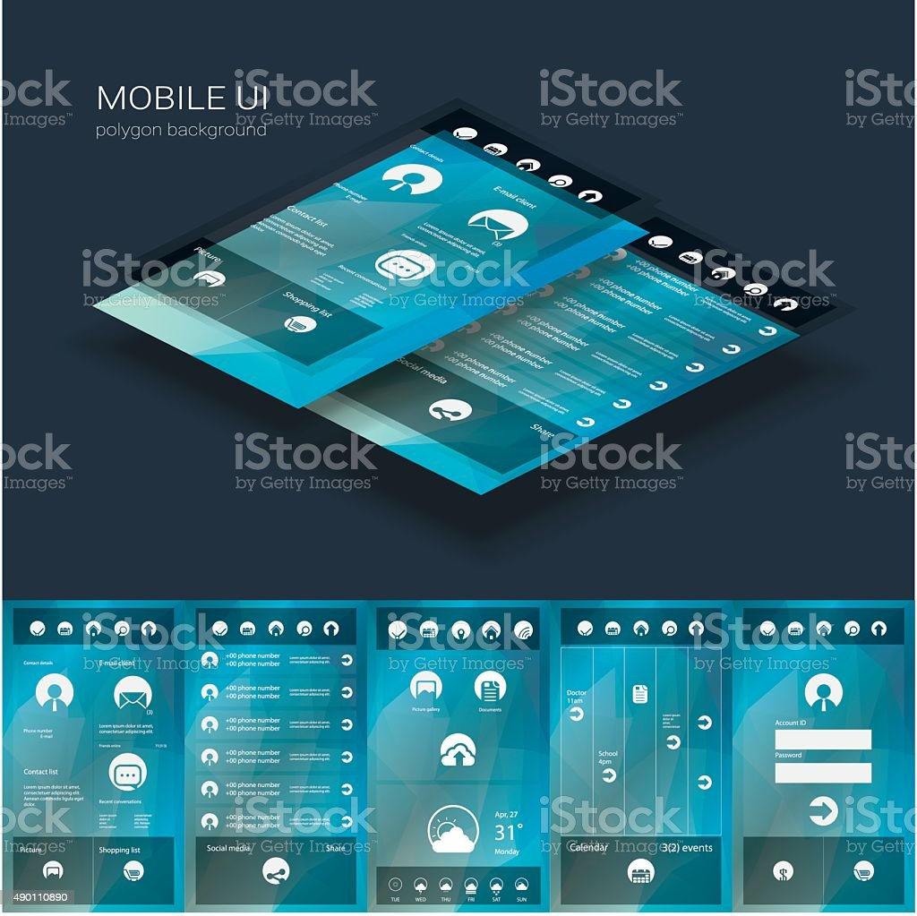 Flat design graphic user interface concept with text space suitable vector art illustration