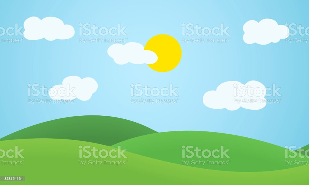 Flat design grass landscape with hills, clouds and glowing sun under blue sky - vector vector art illustration