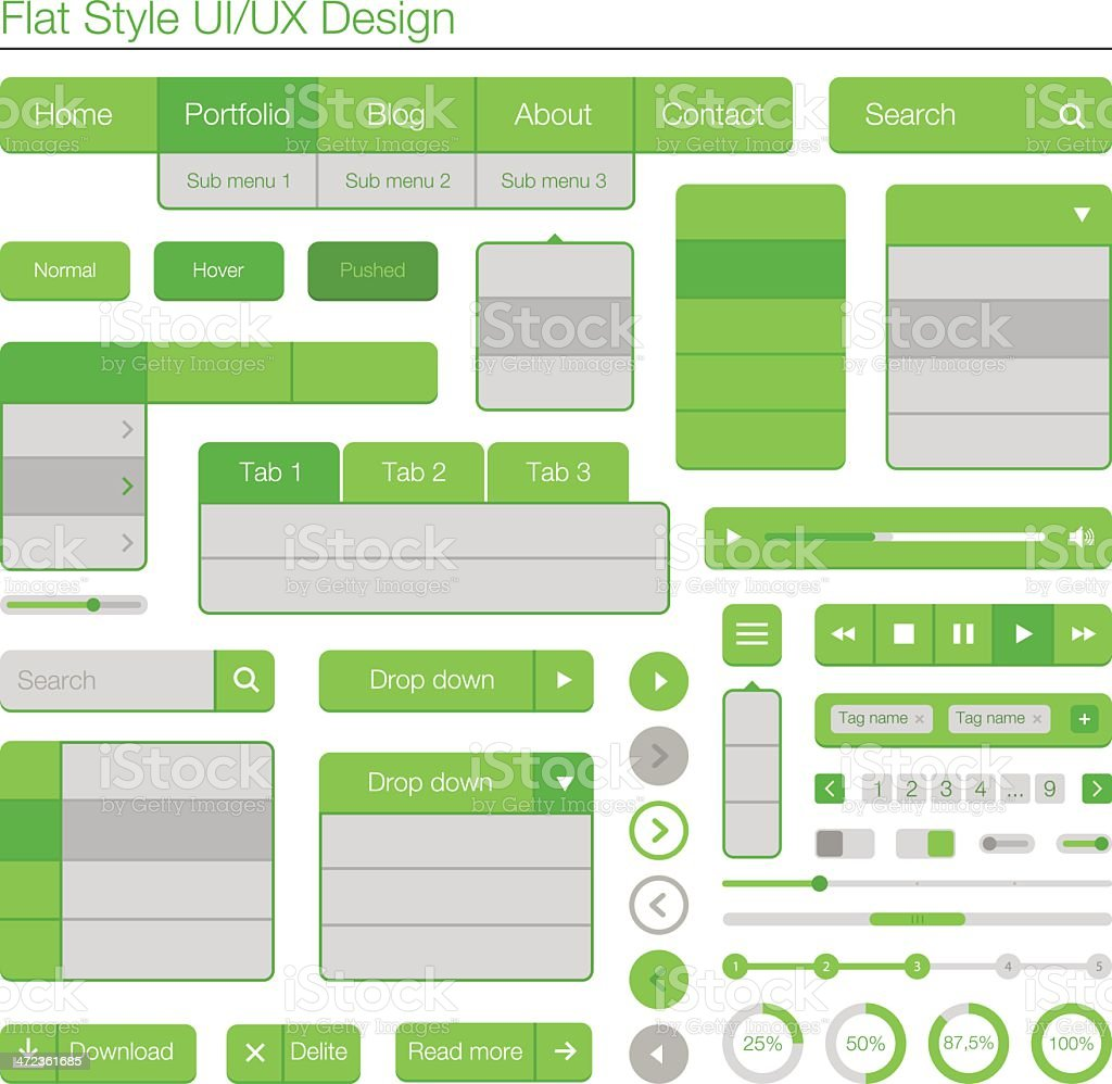 Uiux Flat Design Green And Grey Diagram Laid Out In Grid