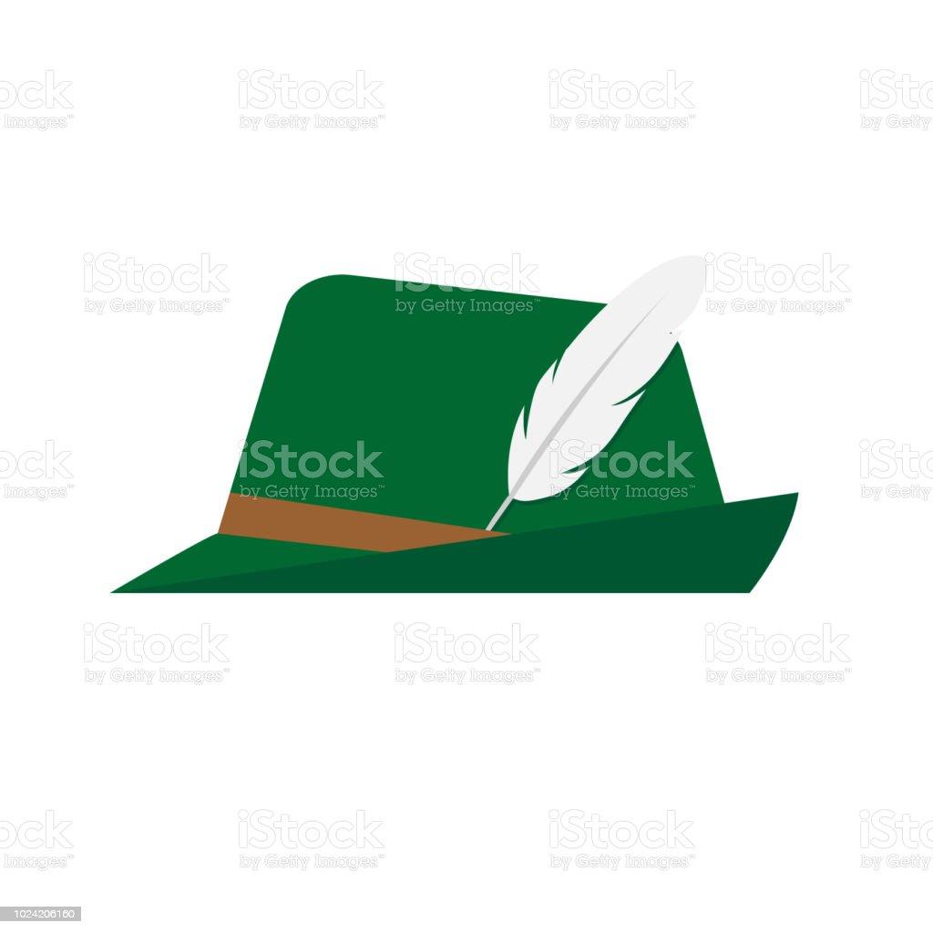 Flat Design Green Oktoberfest Hat On White Background Stock Vector ... ef9347be235