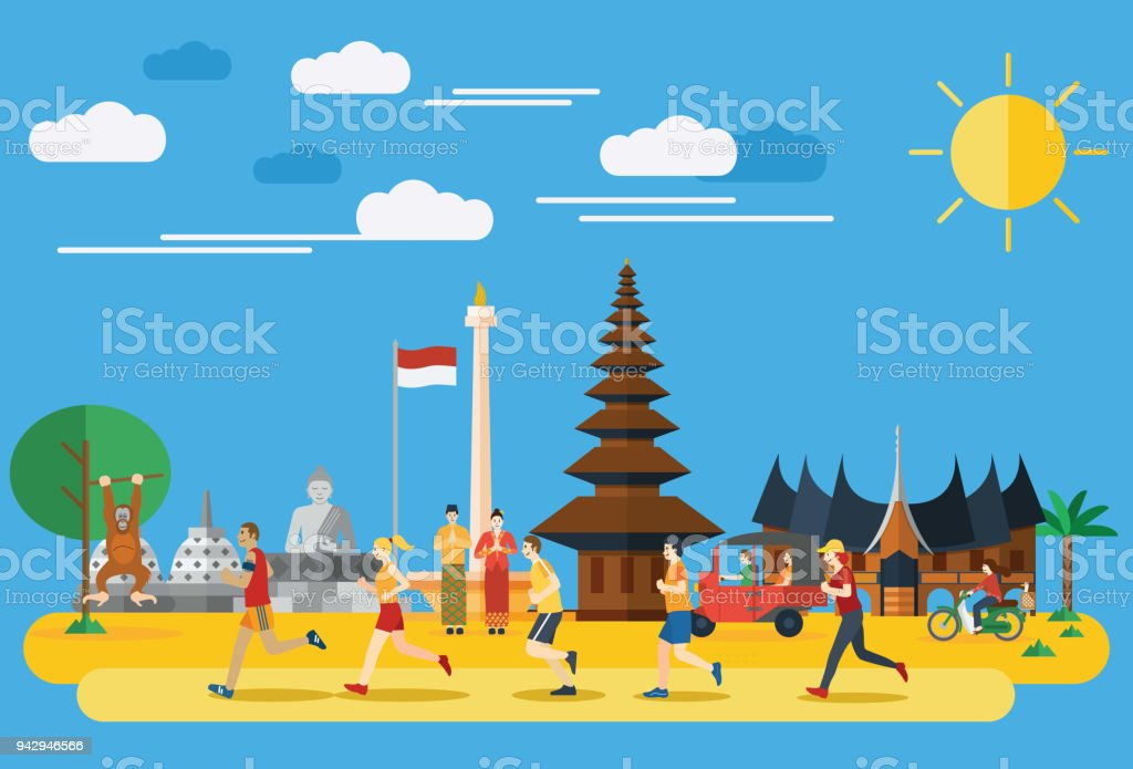 Flat design, Group of people jogging in Indonesia vector art illustration