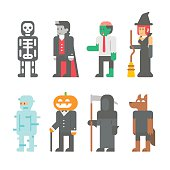 Flat design Halloween people set illustration vector
