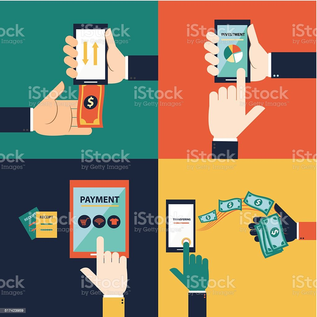 Flat design hand vector  for mobile banking concept vector art illustration