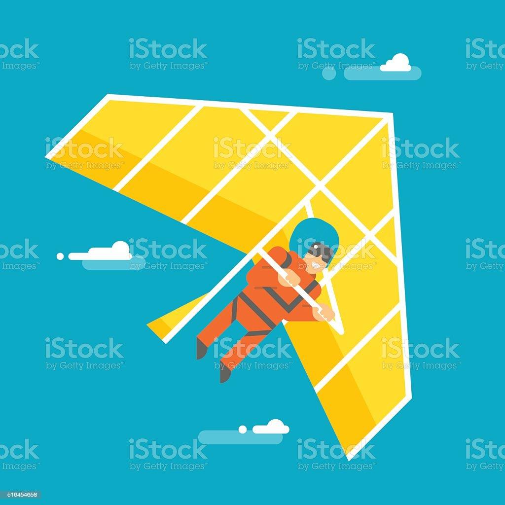 Flat design hangglider vector art illustration