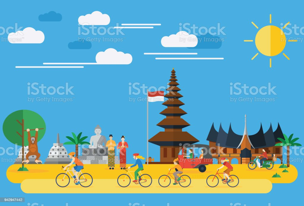 Flat design, Happy family riding bicycles in Indonesia vector art illustration