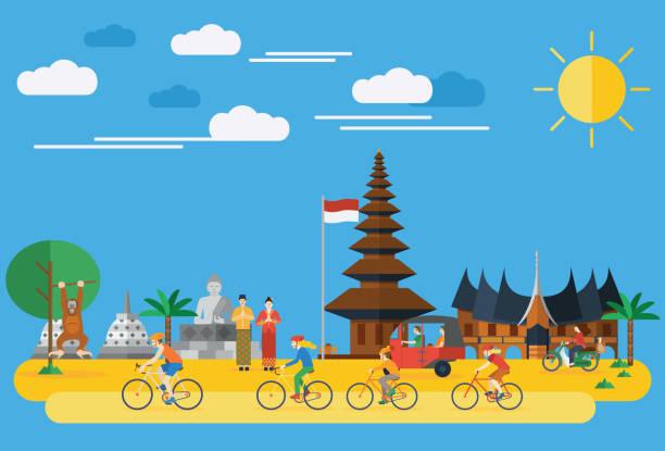 평편 설계, 행복함 부품군 탑승형 자전거 인도네시아 - 자카르타 stock illustrations