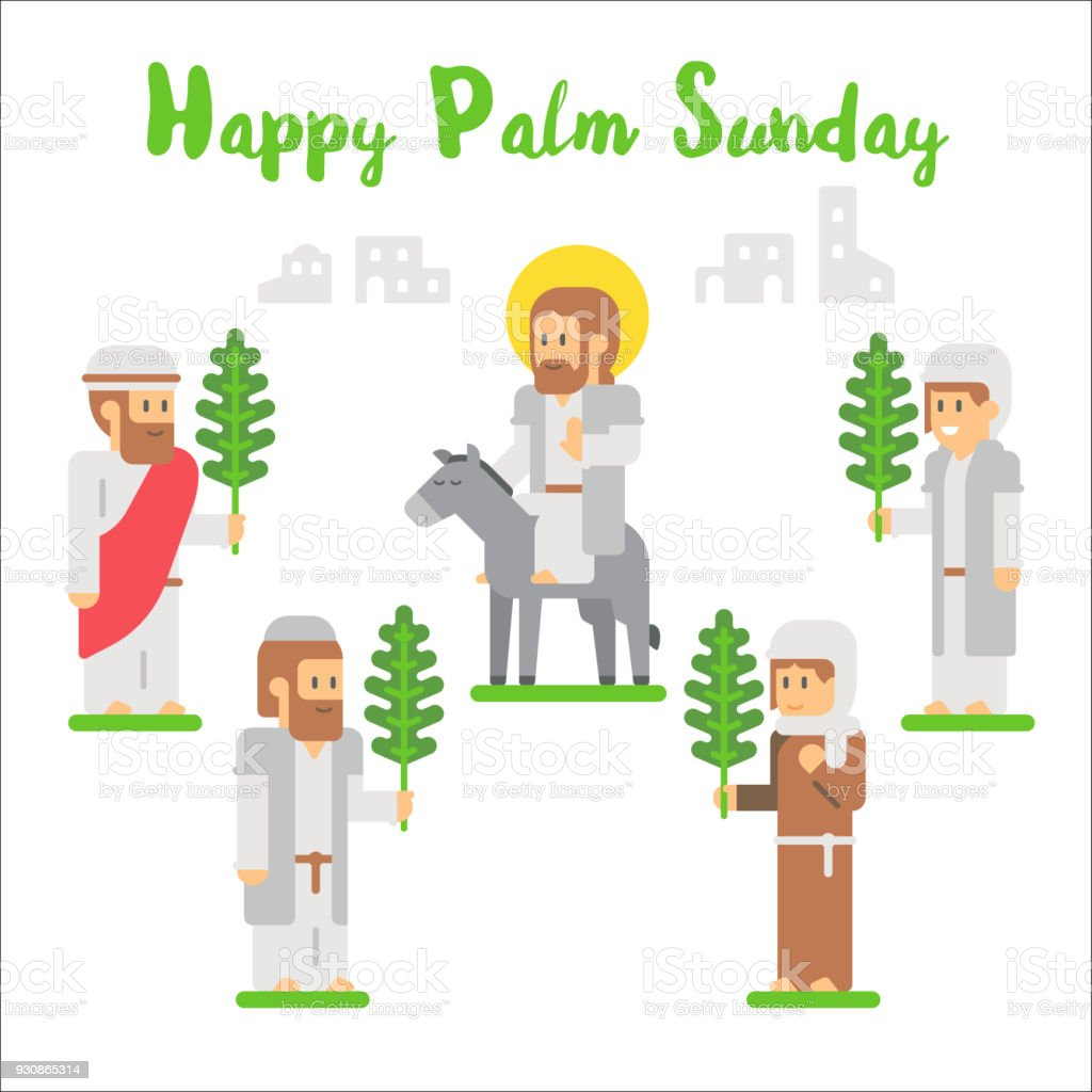 flat design happy palm sunday stock vector art & more images of