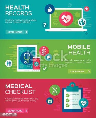 istock Flat Design Health Banners 466367426
