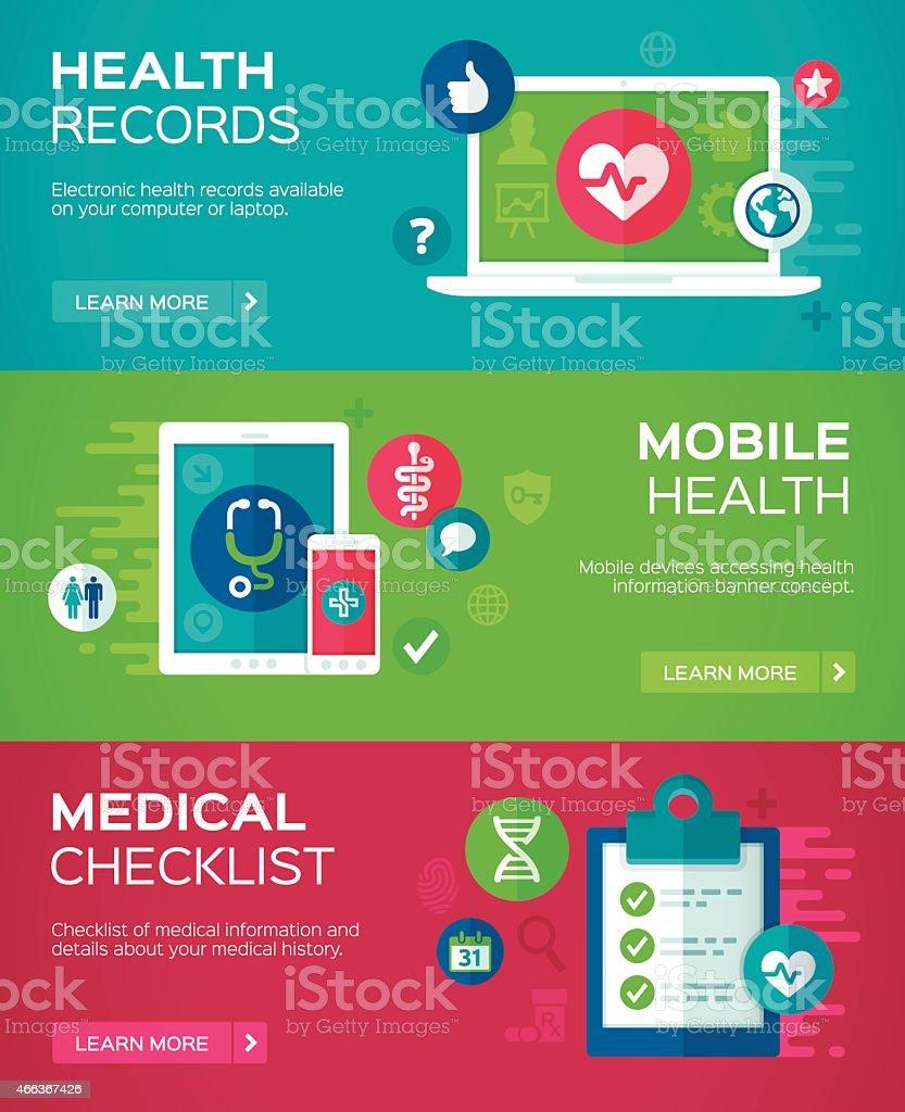 Flat Design Health Banners vector art illustration