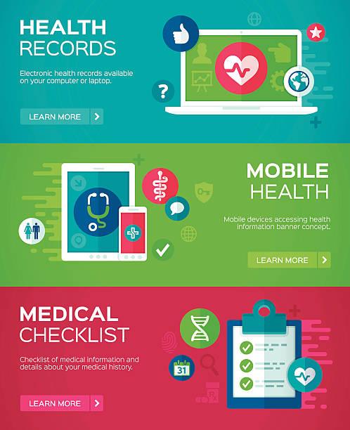 bildbanksillustrationer, clip art samt tecknat material och ikoner med flat design health banners - medicinsk journal
