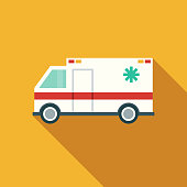 istock Flat Design Healthcare Ambulance Icon with Side Shadow 869094940