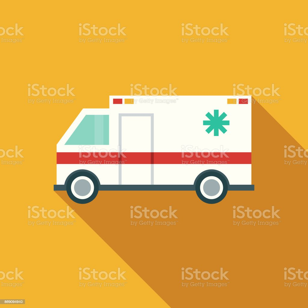 Flat Design Healthcare Ambulance Icon with Side Shadow vector art illustration