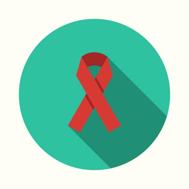 ilustraciones, imágenes clip art, dibujos animados e iconos de stock de diseño plano conciencia salud cinta icono con sombra lateral - símbolo societal