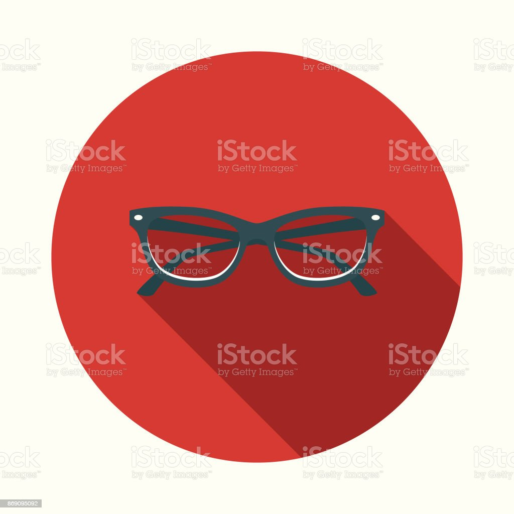 Flat Design Healthcare Eyecare Icon with Side Shadow vector art illustration