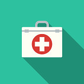 istock Flat Design Healthcare First Aid Kit Icon with Side Shadow 869092372