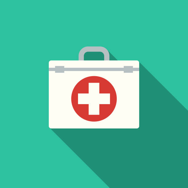 flat design healthcare first aid kit icon with side shadow - first aid stock illustrations, clip art, cartoons, & icons