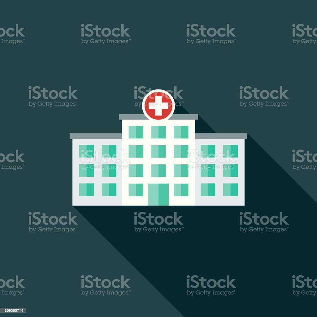 Flat Design Healthcare Hospital Icon with Side Shadow vector art illustration