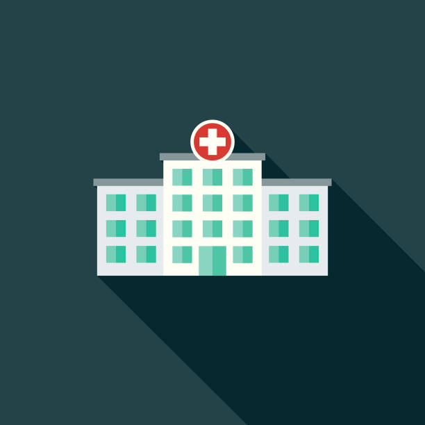 flat design healthcare hospital icon with side shadow - hospital stock illustrations