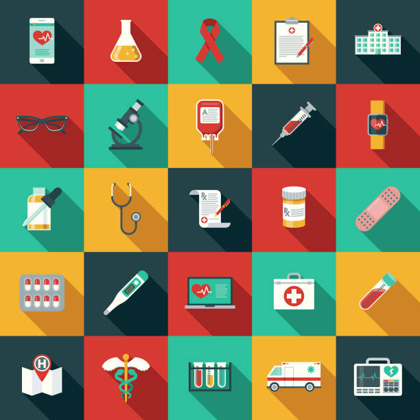 illustrazioni stock, clip art, cartoni animati e icone di tendenza di flat design healthcare & medicine icon set with side shadow - farmaco