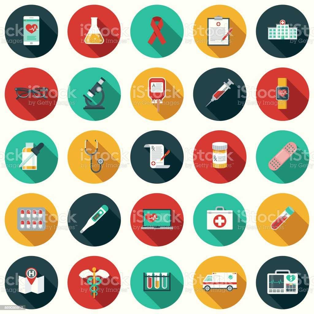 Flat Design Healthcare & Medicine Icon Set with Side Shadow vector art illustration