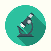 istock Flat Design Healthcare Microscope Icon with Side Shadow 869095000