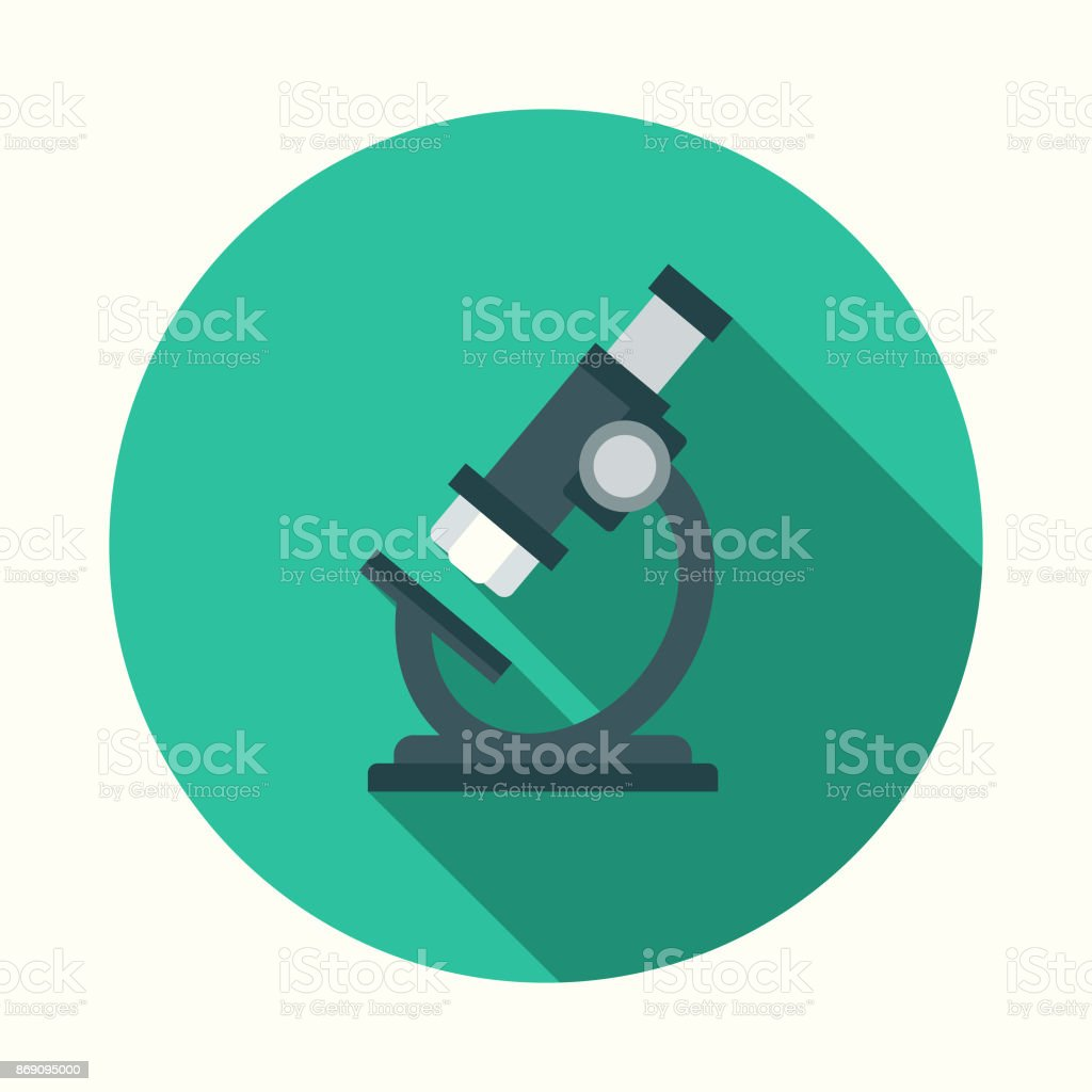 Flat Design Healthcare Microscope Icon with Side Shadow vector art illustration