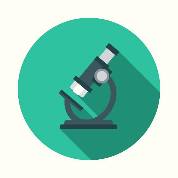 bildbanksillustrationer, clip art samt tecknat material och ikoner med platt design hälso-och mikroskop ikon med side skugga - microscope