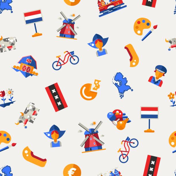 flache design-holland reisen symbole infografiken elemente mit holländischen symbole - niederlande stock-grafiken, -clipart, -cartoons und -symbole