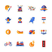 Flat design Holland travel icons, infographics elements with Dutch symbols
