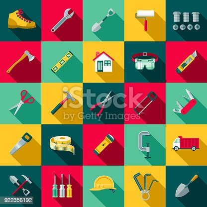 A set of flat design styled home improvement and renovations icons with a long side shadow. Color swatches are global so it's easy to edit and change the colors.