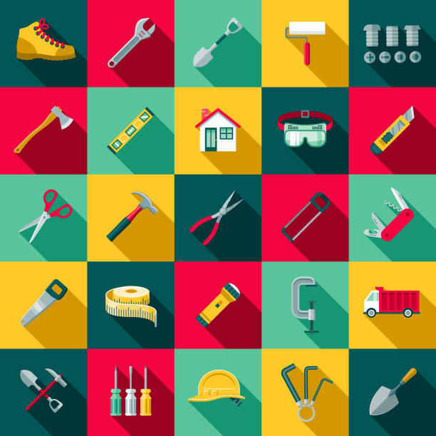 flat design home improvement icon set with side shadow - tools stock illustrations