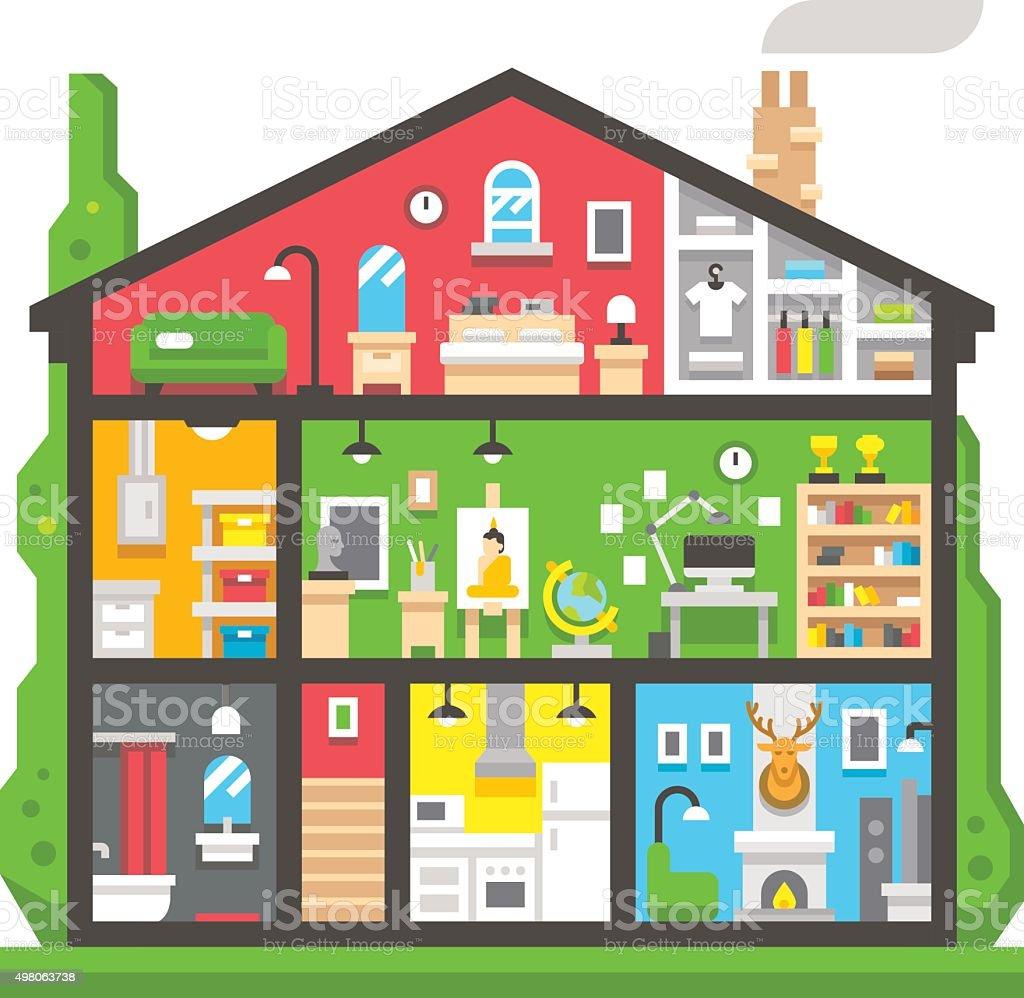 Flat design home interior side view vector art illustration