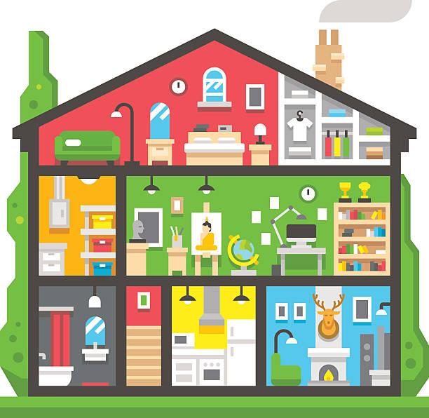 flache design-home interior seitenansicht - dachboden stock-grafiken, -clipart, -cartoons und -symbole