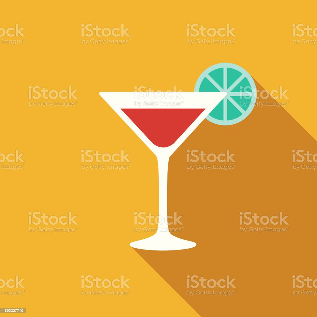 Flat Design Hotel Icon: Bar vector art illustration