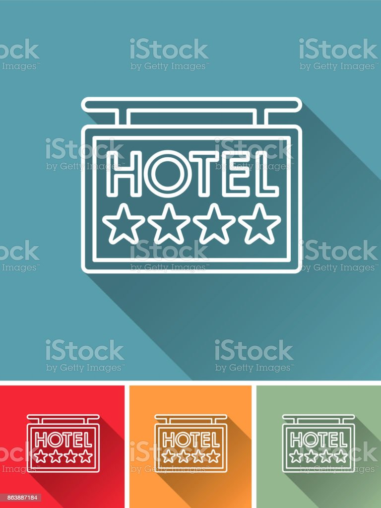 Flat Design Hotel Icon: Hotel Sign vector art illustration