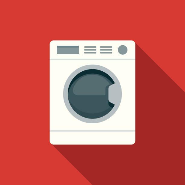 flache design hotel-ikone: wäscherei - waschmaschine stock-grafiken, -clipart, -cartoons und -symbole