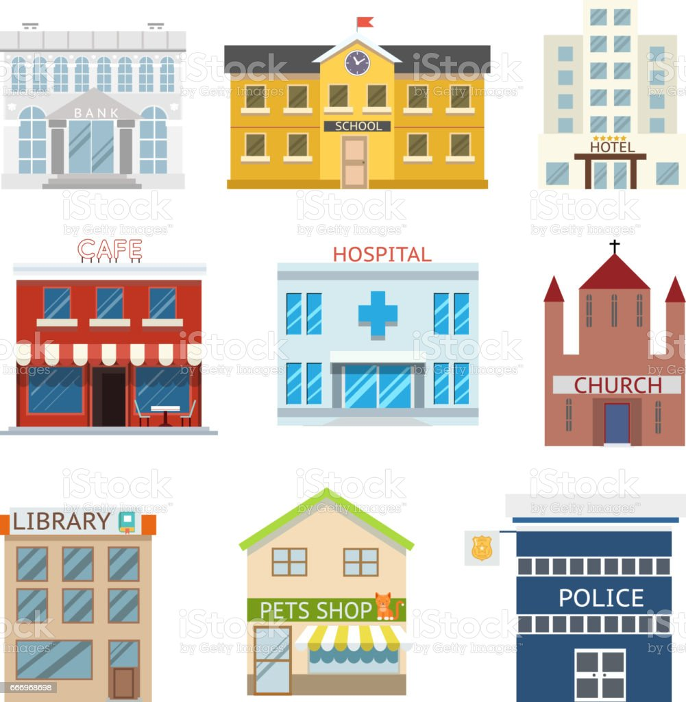 Flat design house buildings administrative religious commercial vector illustration - illustrazione arte vettoriale