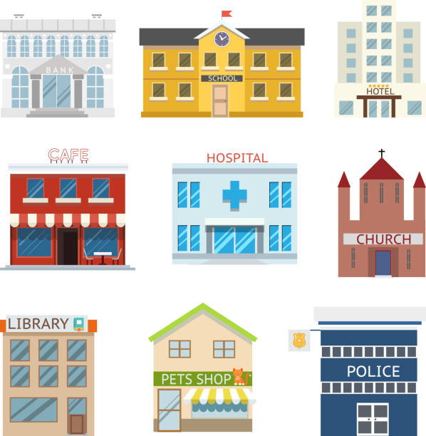flat design house buildings administrative religious commercial vector illustration - bibliothekwand stock-grafiken, -clipart, -cartoons und -symbole