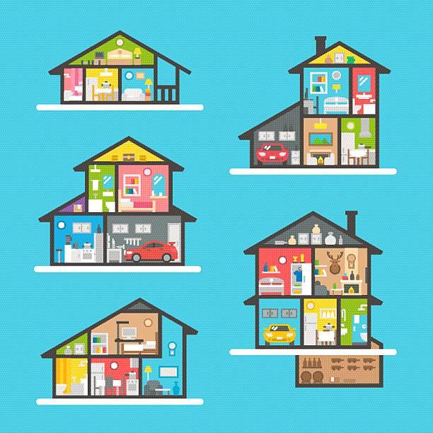 flat design house interior set - halbwände stock-grafiken, -clipart, -cartoons und -symbole