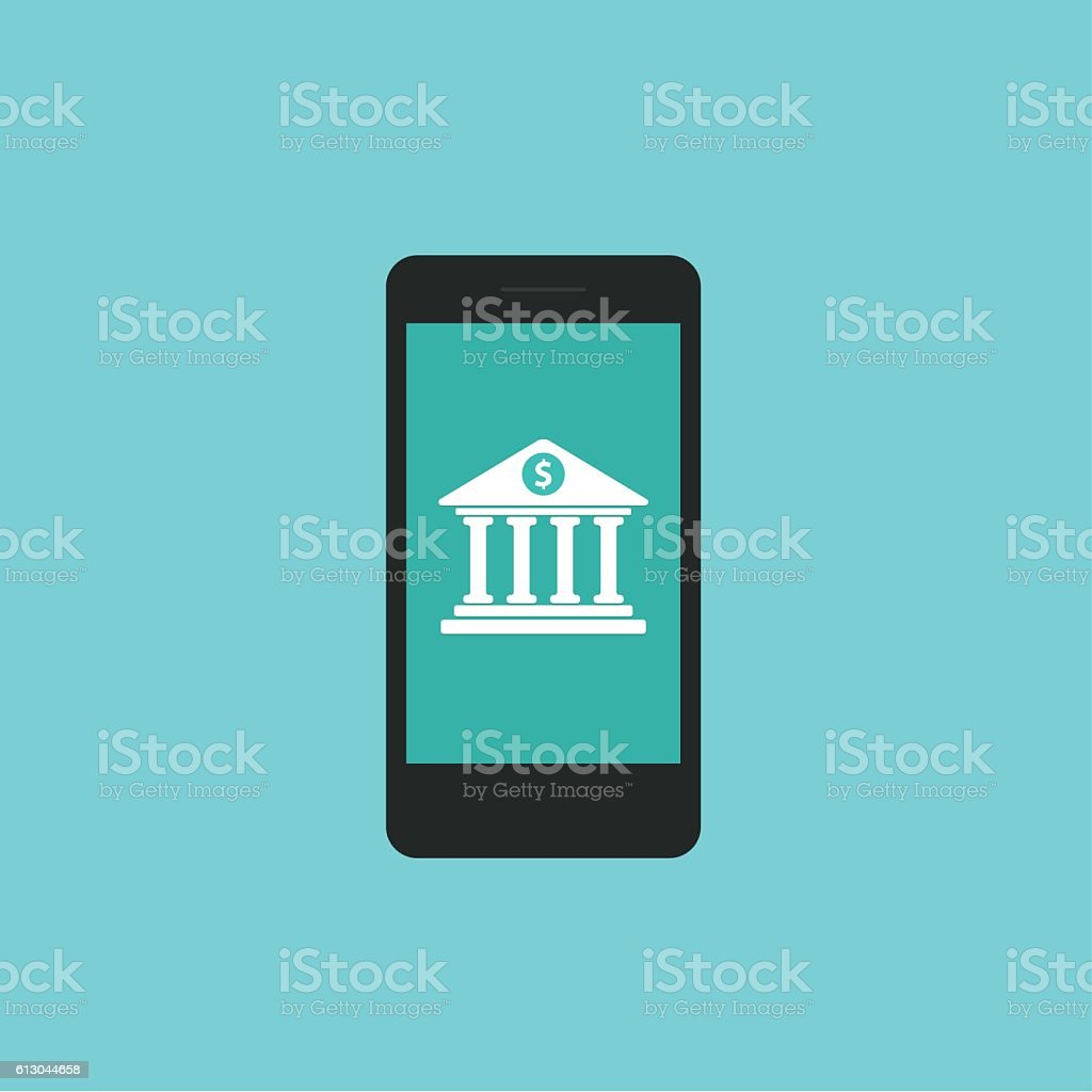 Flat design icon of mobile banking services vector art illustration