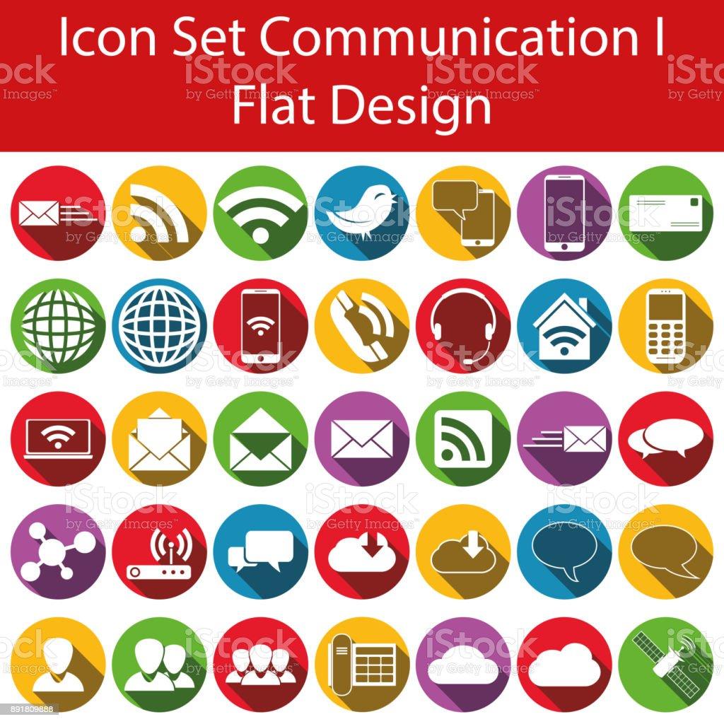 Flat Design Icon Set Communication I vector art illustration
