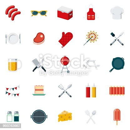 A set of 25 barbecue flat design icons on a transparent background. File is built in the CMYK color space for optimal printing. Color swatches are Global for quick and easy color changes.