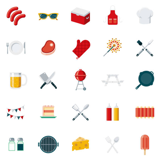 BBQ Flat Design Icon Set A set of 25 barbecue flat design icons on a transparent background. File is built in the CMYK color space for optimal printing. Color swatches are Global for quick and easy color changes. cooking clipart stock illustrations