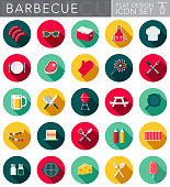 A set of flat design styled barbecue icons with a long side shadow. Color swatches are global so it's easy to edit and change the colors.